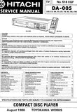 HITACHI DA-005 CD PLAYER SERVICE MANUAL INC BLK DIAG PCBS SCHEM DIAGS AND PARTS LIST 93 PAGES ENG