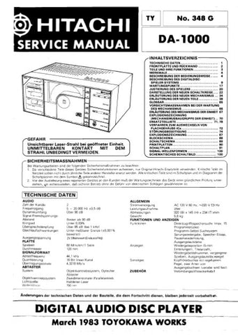 HITACHI DA-1000 DIGITAL AUDIO DISC PLAYER SERVICE MANUAL INC BLK DIAG PCBS SCHEM DIAGS AND PARTS LIST 140 PAGES DEUT