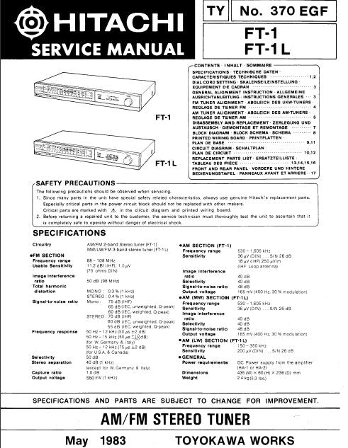 HITACHI FT-1 FT-1L AM FM STEREO TUNER SERVICE MANUAL INC BLK DIAG PCBS SCHEM DIAGS AND PARTS LIST 12 PAGES ENG