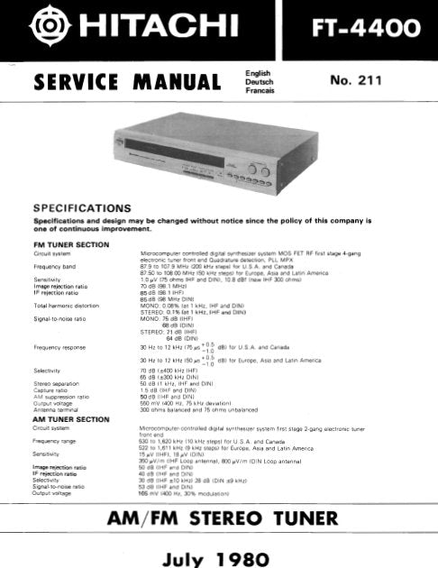 HITACHI FT-4400 AM FM STEREO TUNER SERVICE MANUAL INC BLK DIAG PCBS SCHEM DIAG AND PARTS LIST 20 PAGES ENG