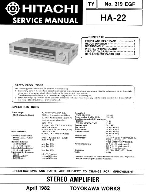 HITACHI HA-22 STEREO AMPLIFIER SERVICE MANUAL INC BLK DIAG PCBS SCHEM DIAG AND PARTS LIST 8 PAGES ENG