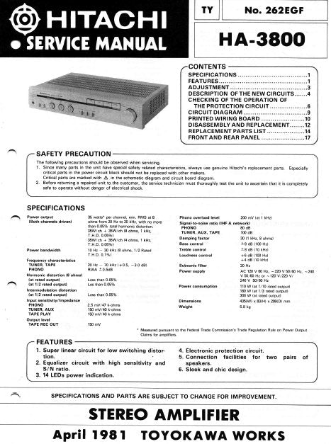 HITACHI HA-3800 STEREO INTEGRATED AMPLIFIER SERVICE MANUAL INC BLK DIAG PCBS SCHEM DIAG AND PARTS LIST 20 PAGES ENG