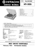 HITACHI HT-20S BELT DRIVE TURNTABLE SERVICE MANUAL INC PCBS SCHEM DIAG AND PARTS LIST 12 PAGES ENG
