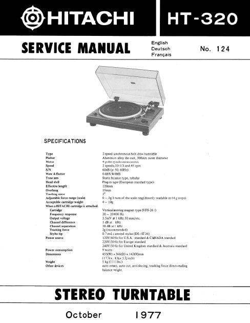 HITACHI HT-320 STEREO TURNTABLE SERVICE MANUAL INC PCBS SCHEM DIAG AND PARTS LIST 12 PAGES ENG