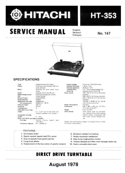 HITACHI HT-353 DIRECT DRIVE TURNTABLE SERVICE MANUAL INC PCBS SCHEM DIAG AND PARTS LIST 16 PAGES ENG
