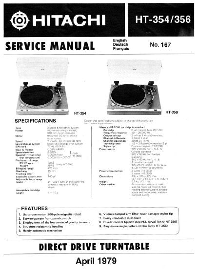 HITACHI HT-354 HT-356 DIRECT DRIVE TURNTABLE SERVICE MANUAL INC PCBS SCHEM DIAG AND PARTS LIST 16 PAGES ENG