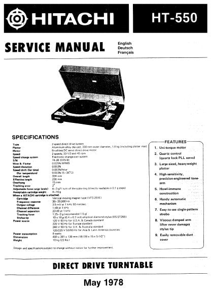 HITACHI HT-550 DIRECT DRIVE TURNTABLE SERVICE MANUAL INC PCBS SCHEM DIAG AND PARTS LIST 16 PAGES ENG