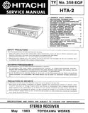 HITACHI HTA-2 STEREO RECEIVER SERVICE MANUAL INC BLK DIAG PCBS SCHEM DIAG AND PARTS LIST16 PAGES ENG