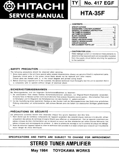 HITACHI HTA-35F STEREO TUNER AMPLIFIER SERVICE MANUAL INC BLK DIAG PCBS SCHEM DIAGS AND PARTS LIST 12 PAGES ENG