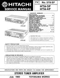 HITACHI HTA-3F HTA-4F STEREO TUNER AMPLIFIER SERVICE MANUAL INC BLK DIAG PCBS SCHEM DIAGS AND PARTS LIST 28 PAGES ENG