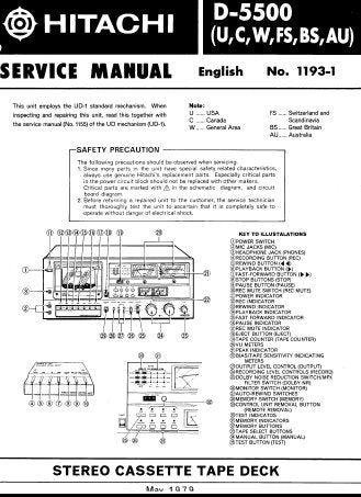 HITACHI D-5500 STEREO CASSETTE TAPE DECK SERVICE MANUAL INC PCBS BLK DIAGS SCHEM DIAGS AND PARTS LIST 62 PAGES ENG