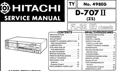 HITACHI D-707II STEREO CASSETTE TAPE DECK SERVICE MANUAL INC BLK DIAG WIRING DIAG CIRC DIAGS AND PARTS LIST 24 PAGES ENG DEUT