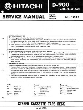 HITACHI D-900 STEREO CASSETTE TAPE DECK SERVICE MANUAL INC LEVEL DIAGS SCHEM DIAGS PCBS WIRING DIAG BLK DIAG AND PARTS LIST 40 PAGES ENG DEUT FRANC