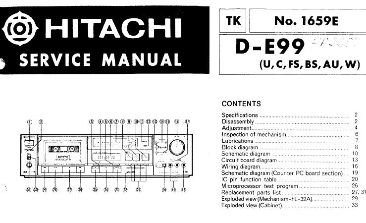 HITACHI D-E99 STEREO CASSETTE TAPE DECK SERVICE MANUAL INC