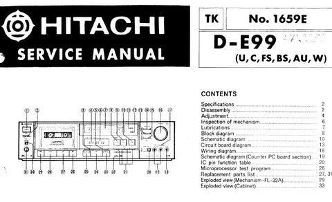 HITACHI D-E99 STEREO CASSETTE TAPE DECK SERVICE MANUAL INC BLK DIAG SCHEM DIAG PCBS WIRING DIAG AND PARTS LIST 28 PAGES ENG
