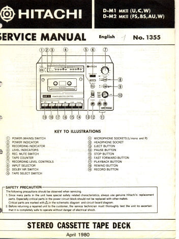 HITACHI D-M1 MKII D-M2 MKII STEREO CASSETTE TAPE DECK SERVICE MANUAL INC WIRING DIAG SCHEM DIAG PCBS BLK DIAG AND PARTS LIST 25 PAGES ENG