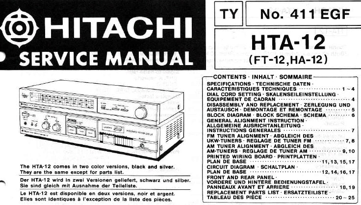 HITACHI FT-12 HTA-12 HA-12 STEREO TUNER AMPLIFIER SERVICE MANUAL INC BLK DIAG PCBS CIRC DIAGS AND PARTS LIST 32 PAGES ENG DEUT FRANC