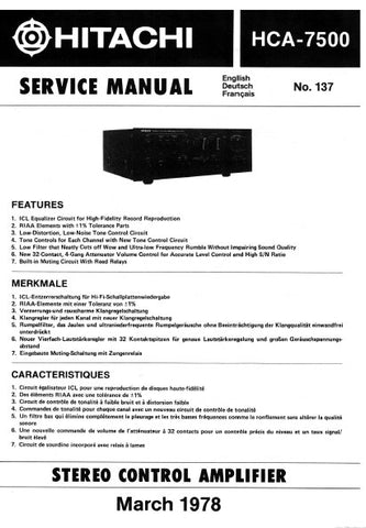 HITACHI HCA-7500 STEREO CONTROL AMPLIFIER SERVICE MANUAL INC BLK DIAG PCBS SCHEM DIAG AND PARTS LIST 17 PAGES ENG DEUT FRANC