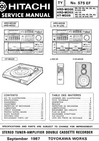 HITACHI HRD-MD38 HRD-MD53 HT-MD28 STEREO TUNER AMPLIFIER DOUBLE CASSETTE RECORDER SERVICE MANUAL INC BLK DIAG PCBS SCHEM DIAGS AND PARTS LIST 45 PAGES ENG DEUT FRANC