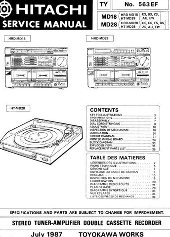 HITACHI HT-MD18 HT-MD28 STEREO TUNER AMPLIFIER DOUBLE CASSETTE RECORDER SERVICE MANUAL INC BLK DIAG PCBS SCHEM DIAGS AND PARTS LIST 61 PAGES ENG FRANC
