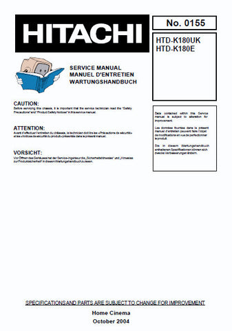 HITACHI HTD-K180E HTD-K180UK HOME CINEMA SYSTEM SERVICE MANUAL INC SCHEM DIAGS 49 PAGES ENG