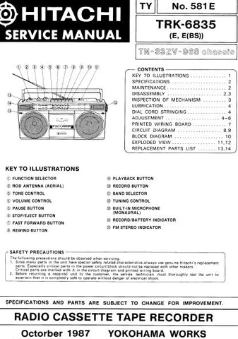 HITACHI TRK-6835 RADIO CASSETTE TAPE RECORDER SERVICE MANUAL INC BLK DIAG PCBS SCHEM DIAGS AND PARTS LIST 18 PAGES ENG