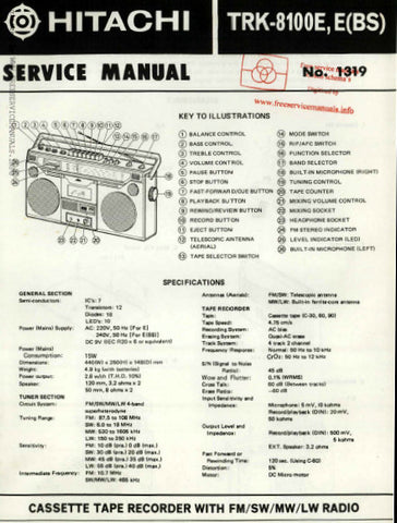 HITACHI TRK-8100E E(BS) CASSETTE TAPE RECORDER WITH FM SW MW LW RADIO SERVICE MANUAL INC BLK DIAG PCBS SCHEM DIAGS AND PARTS LIST18 PAGES ENG