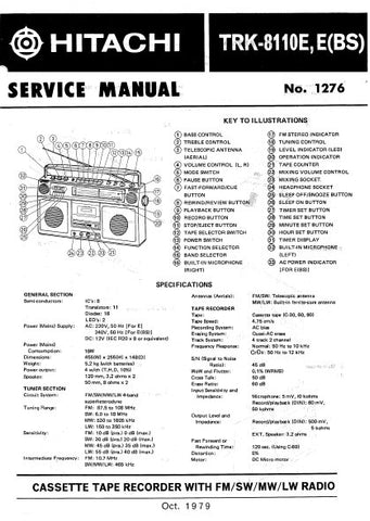 HITACHI TRK-8110E E(BS) CASSETTE TAPE RECORDER WITH FM SW MW LW RADIO SERVICE MANUAL INC BLK DIAG PCBS SCHEM DIAGS AND PARTS LIST 21 PAGES ENG
