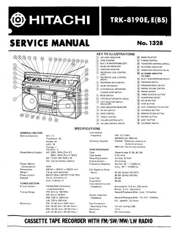 HITACHI TRK-8190E E(BS) CASSETTE TAPE RECORDER WITH FM SW MW LW RADIO SERVICE MANUAL INC BLK DIAG PCBS SCHEM DIAGS AND PARTS LIST 28 PAGES ENG