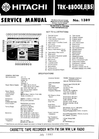 HITACHI TRK-8800E E(BS) CASSETTE TAPE RECORDER WITH FM SW MW LW RADIO SERVICE MANUAL INC BLK DIAG PCBS SCHEM DIAGS AND PARTS LIST 36 PAGES ENG