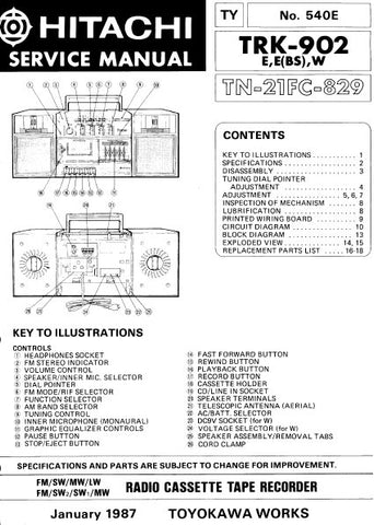 HITACHI TRK-902 FM SW MW LW FM SW SW MW RADIO CASSETTE TAPE RECORDER SERVICE MANUAL INC BLK DIAG PCBS SCHEM DIAGS AND PARTS LIST 23 PAGES ENG
