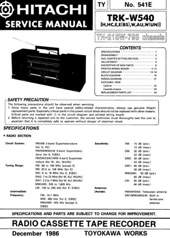 HITACHI TRK-W540 RADIO CASSETTE TAPE RECORDER SERVICE MANUAL INC BLK DIAGS PCBS SCHEM DIAGS AND PARTS LIST 28 PAGES ENG