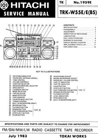 HITACHI TRK-W55E E(BS) FM SW MW LW RADIO CASSETTE TAPE RECORDER SERVICE MANUAL INC PCBS SCHEM DIAGS AND PARTS LIST 27 PAGES ENG