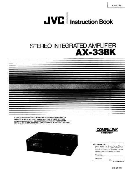 JVC AX-33BK STEREO INTEGRATED AMPLIFIER INSTRUCTION BOOK 24 PAGES ENG