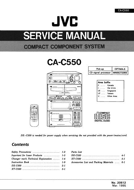 JVC CA-C550 COMPACT COMPONENT SYSTEM SERVICE MANUAL INC BLK DIAGS PCBS SCHEM DIAGS AND PARTS LIST 168 PAGES ENG