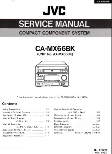 JVC CA-MX66BK COMPACT COMPONENT SYSTEM SERVICE MANUAL INC BLK DIAG PCBS SCHEM DIAGS AND PARTS LIST 48 PAGES ENG