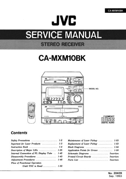 JVC CA-MXM10BK STEREO RECEIVER SERVICE MANUAL INC BLK DIAG PCBS SCHEM DIAGS AND PARTS LIST 108 PAGES ENG