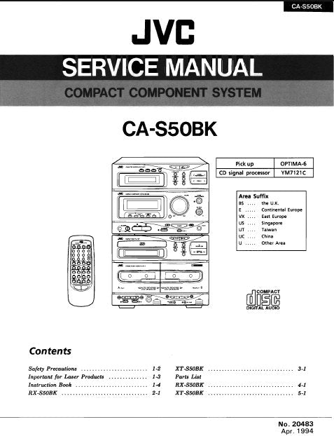 JVC CA-S50BK COMPACT COMPONENT SYSTEM SERVICE MANUAL INC BLK DIAGS PCBS SCHEM DIAGS AND PARTS LIST 140 PAGES ENG
