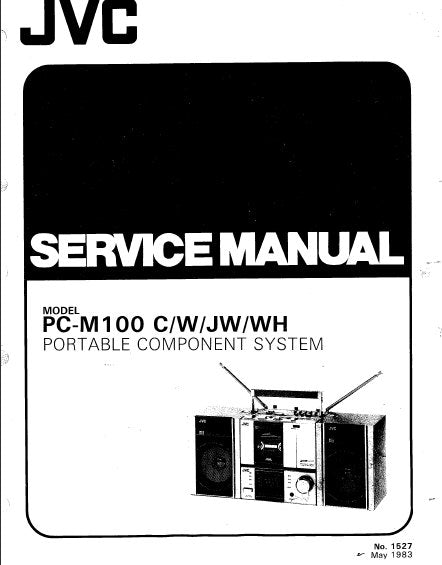 JVC PC-M100 PORTABLE COMPONENT SYSTEM SERVICE MANUAL INC BLK DIAG PCBS SCHEM DIAGS AND PARTS LIST 42 PAGES ENG