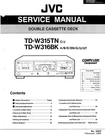 JVC TD-W315TN TD-W316BK DOUBLE CASSETTE DECK SERVICE MANUAL INC BLK DIAG PCBS SCHEM DIAGS AND PARTS LIST 50 PAGES ENG