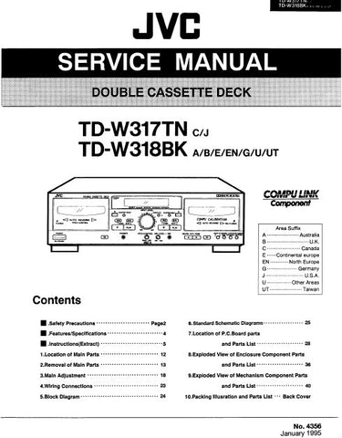 JVC TD-W317TN TD-W318BK DOUBLE CASSETTE DECK SERVICE MANUAL INC BLK DIAG PCBS SCHEM DIAGS AND PARTS LIST 54 PAGES ENG