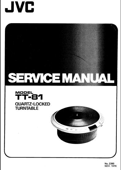 JVC TT-81 QUARTZ LOCKED TURNTABLE SERVICE MANUAL INC PCBS AND PARTS LIST 29 PAGES ENG