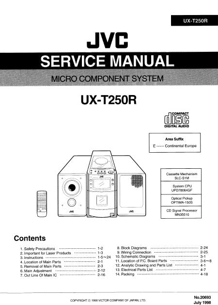 JVC UX-T250R MICRO COMPONENT SYSTEM SERVICE MANUAL INC BLK DIAG PCBS SCHEM DIAGS AND PARTS LIST 94 PAGES ENG