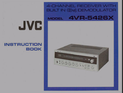 JVC 4VR-5426X 4 CHANNEL RECEIVER INSTRUCTION BOOK INC CONN DIAGS 16 PAGES ENG