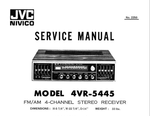 JVC 4VR-5445 FM AM 4 CHANNEL STEREO RECEIVER SERVICE