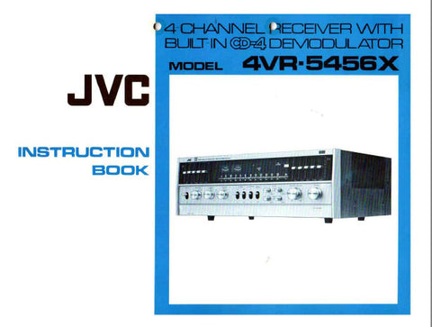 JVC 4VR-5456X 4 CHANNEL RECEIVER INSTRUCTION BOOK INC CONN DIAG AND TRSHOOT GUIDE 22 PAGES ENG