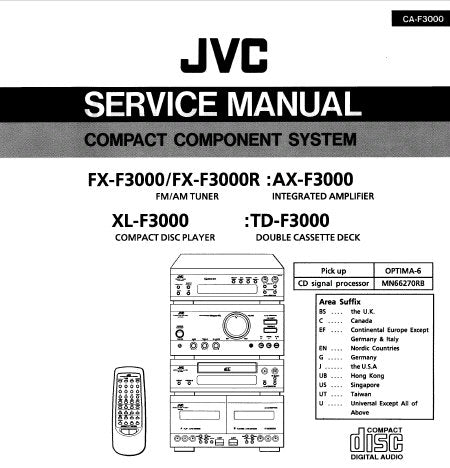 JVC AX-F3000 INTEGRATED AMPLIFIER TD-F3000 DOUBLE CASSETTE DECK XL-F3000 CD PLAYER FX-F3000 FX-F3000R AM FM TUNER OF COMPACT COMPONENT SYSTEM CA-F3000 SERVICE MANUAL AND INSTRUCTION BOOK INC BLK DIAGS PCB'S SCHEM DIAGS AND PARTS LIST 198 PAGES ENG