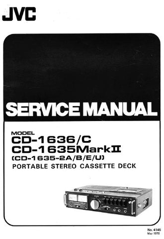 JVC CD-1635MKII CD-1635-2A CD-1636 CD-1636C PORTABLE STEREO CASSETTE DECK SERVICE MANUAL INC BLK DIAGS PCBS SCHEM DIAGS AND PARTS LIST 39 PAGES ENG