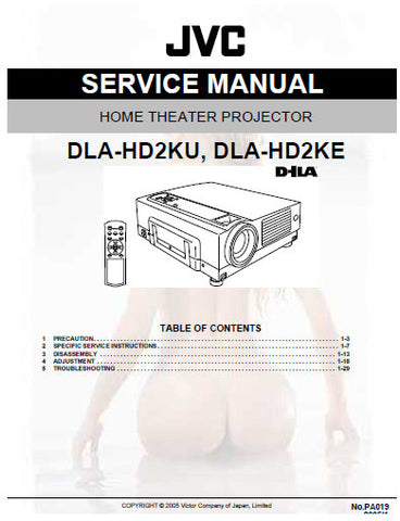JVC DLA-HD2KA DLA-HD2KE HOME THEATER PROJECTOR SERVICE MANUAL INC BLK DIAG PCBS SCHEM DIAGS AND PARTS LIST 129 PAGES ENG