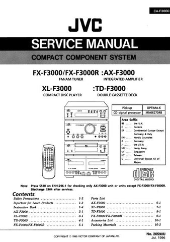 JVC FX-F3000 FX-F3000R FM AM TUNER AX-F3000 INTEGRATED AMPLIFIER TD-F3000 DOUBLE CASSETTE DECK XL-F3000 CD PLAYER COMPACT COMPONENT SYSTEM SERVICE MANUAL INC BLK DIAG PCBS SCHEM DIAGS AND PARTS LIST 198 PAGES ENG